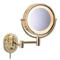 Lighted 5X Magnifying Wall Mount Mirror - Finish: Brass