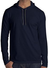 Mens Lightweight Hoodie Tee Shirt, Medium Navy
