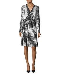 Diane Von Furstenberg Lilyann Silk Wrap Dress-BLACK-8