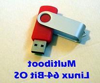 Linux Live Multiboot 8GB USB Thumb Drive - 5 x 64-Bit OS,