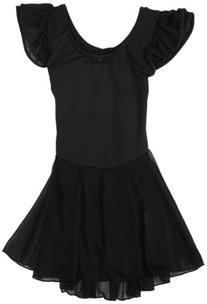 Capezio Little Girls' Flutter-Sleeve Dress Leotard,Black,T