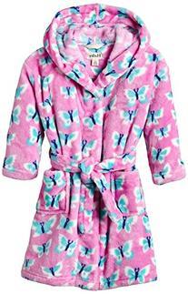 Hatley Little Girls' Fuzzy Fleece Robe - Butterflies, Pink,