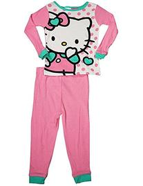 Hello Kitty - Little Girls Long Sleeve Pajamas, Pink, White