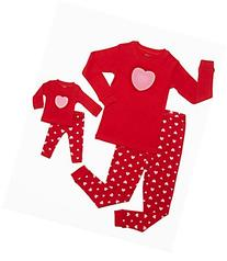 "Leveret ""Hearts"" 2 Piece Matching Kid & Doll Pajama Set 100"