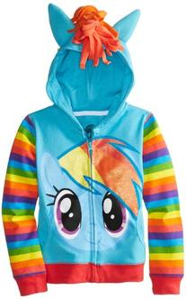 My Little Pony Little Girls' Rainbow Dash Hoodie, Blue/Multi