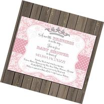 Little Princess Baby Shower Invitation in Pink Damask with