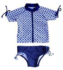 "SwimZip Little Girl ""Summer Fun"" Rash Guard Swimsuit Set"