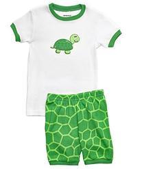 "Leveret Little Boy Shorts ""Turtle"" 2 Piece Pajama 100%"