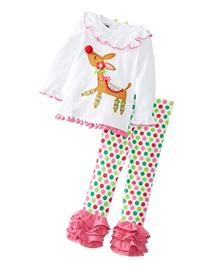 Mud Pie Little Girls' Reindeer Tunic and Legging Set, White