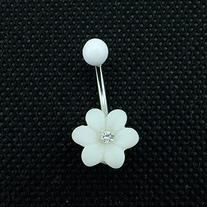Little Pure White Flower Belly Button Ring Body Jewelry