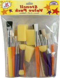 Loew Cornell 73 25-Piece Brush Set, Stencil Pack