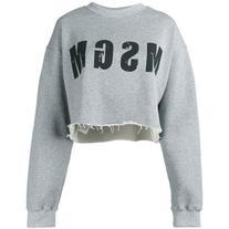 MSGM - logo print cropped sweatshirt - women - Cotton/
