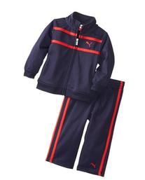 PUMA Kids Baby Boys' Logo Tricot Set, Navy/Red, 24 Months