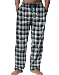 Hanes Men's Logo Woven Plaid Pants Green-Red Plaid M Hanes