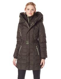 Kensie Women's Long Down Coat with Hood, Winter White,