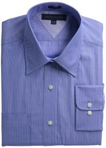 Tommy Hilfiger Men's Long Sleeve Fancy Point Collar, Blue,