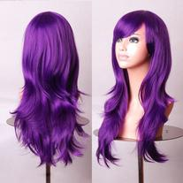 "28"" Long Heat Resistant Purple Big Wavy Cosplay Wig"