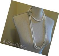 Long Pearl Flapper Necklace with Backdrop and Brooch Art