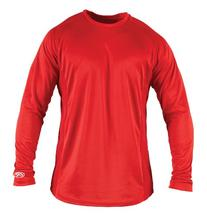 Rawlings Boy's Long Sleeve Baselayer Shirt, Scarlet, Medium