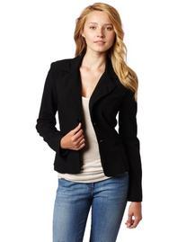 A. Byer Juniors Long Sleeve Button Welt Jacket, Black, Large