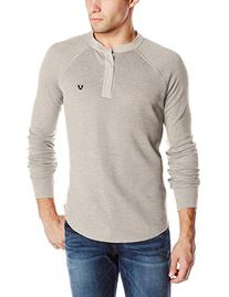 True Religion Men's Long Sleeve Henley with Poplin Contrast