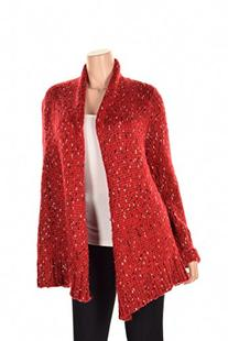 Kensie Long Sleeve Shawl Collar Knit Cardigan Red Combo XS/S