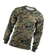 Men's Long Sleeve T-Shirt Woodland Camo - Size X-Large