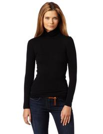 Splendid Women's 1X1 Long Sleeve Turtleneck Top,Black,Small