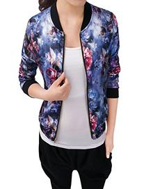 Allegra K Women Long Sleeve Zip up Floral Print Casual