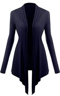ACEVOG Womens Long Sleeves Drop Pocket Cardigan Open Casual