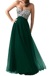 Ouman Women's Long Tulle Party Dress Prom Gown Dark Green S
