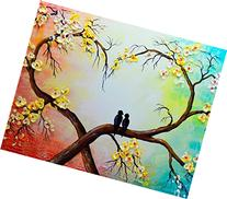 Love Tree Oil Painting on Canvas,Yellow White Floral