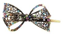 Leegoal Lovely Vintage Jewelry Crystal Bowknot Hair Clips