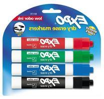 Expo Low Odor Chisel Tip Dry Erase Markers, 4 Colored