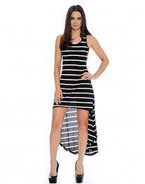 Enimay Women's High Low Thin Stripe Summer Sleeveless Maxi