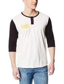 Brixton Men's Lowe 3/4 Sleeve Henley, White/Black, Small