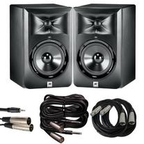 JBL LSR 305 Studio Monitor Pair with XLR, TRS to XLR and 1/8