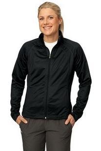 Sport-Tek Ladies Tricot Track Jacket. - Large - Black/Black