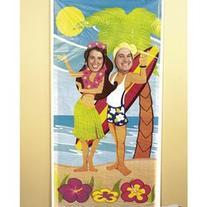 Luau Couple Face Photo Door Banner Poster Party Decor