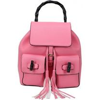 LUCLUC Pink Backpacks Tassels Twist Lock Drawstring