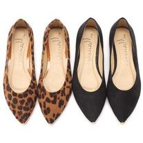 LUCLUC Suede Leopard Flat Shoes