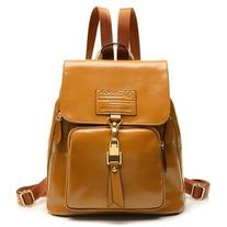 LUCLUC Yellow Leather Zipper Backpacks