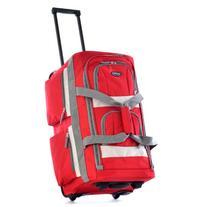 "Olympia Luggage 26"" 8 Pocket Rolling Duffel Bag, Red, One"