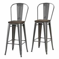 """Dorel Home Products Luxor 30"""" Metal Bar Stool with Wood Seat"""