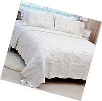 Brandream Luxury Embroidery Bed Quilt Set Cream White