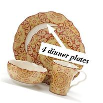 222 Fifth Lyria Saffron Paisley Dinner Plate, Set of 4