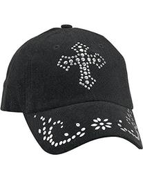 M & F Western Women's Studded Cross Cap Black One Size