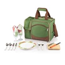 Picnic Time 'Malibu' Insulated Cooler Picnic Tote with Service for 2, Pine Green