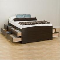 Prepac Manhattan Tall Queen Platform Storage Bed in Espresso