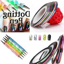 5 X 2 Way Marbleizing Dotting Pen Set for Nail Art Manicure